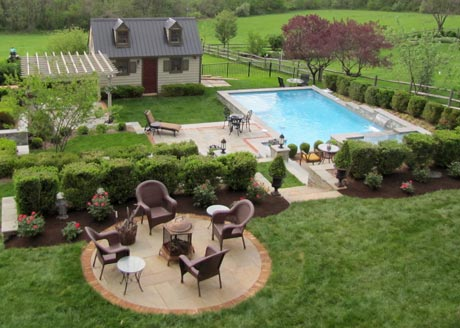 Client landscape with pool, pergola, planted terrace, and patios